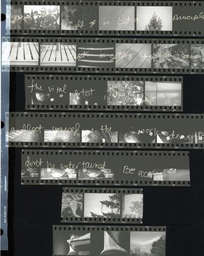 contact sheet of 35mm negatives; various scenes with handwriting over them