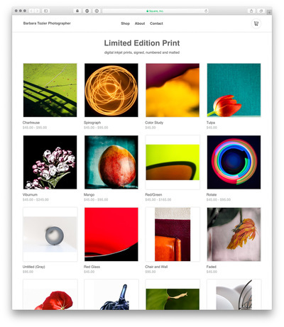 A screencapture of a website with a grid of square colorful images. The images have prices under them.
